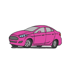 pink car doodle vector image