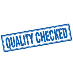 Quality checked blue square grunge stamp on white vector