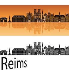 Reims skyline in orange background vector