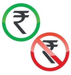 Rupee permission signs set vector