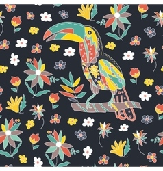 Seamless pattern with bird and flowers Toucan vector image vector image