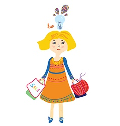 Shopping girl with bags and lightbulb fun vector image