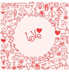 Sketchy love and hearts doodles vector