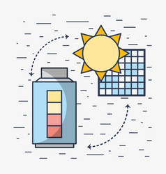 Solar energy with electric battery loaded vector