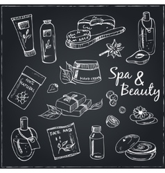 Spa beauty and care hand drawn elements vector