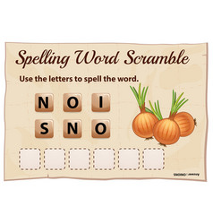 Spelling word scramble game with word onions vector