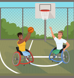 Sportsmen on wheelchairs playing with ball sports vector
