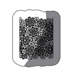 sticker monochrome pattern with contour flowers vector image