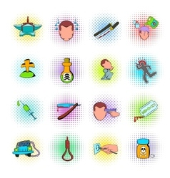 Suicide icons set vector