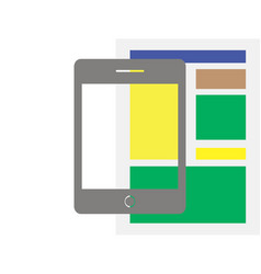 Tablet flat icon design newspaper vector