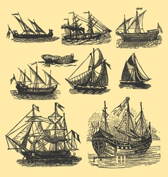 vintage hand drawn vintage ships vector image