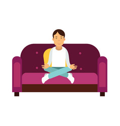 young man sitting on a sofa and meditating in vector image vector image