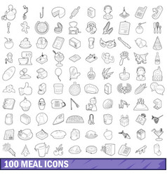 100 meal icons set outline style vector