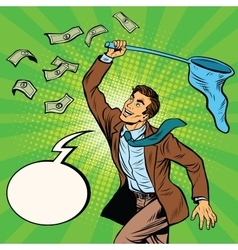 Businessman catching money with a butterfly net vector