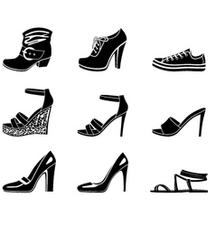 Set of icons of womanish shoe vector image