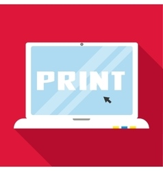 Print word on monitor icon flat style vector