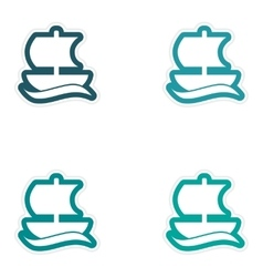 Set of paper stickers on white background Greek vector image