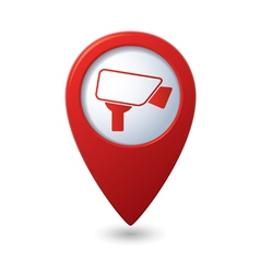 Map pointer with surveillance camera icon vector