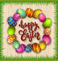 Multi colored easter eggs and grass on a wood vector