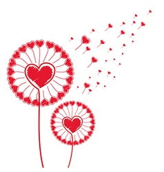 dandelion of hearts background vector image