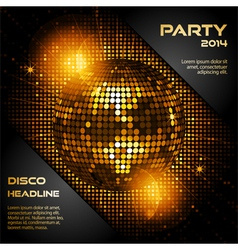 Disco ball in glowing gold with sample text vector