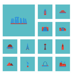 Flat icons america moscow the forbidden city and vector