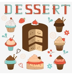 Dessert menu collection vector
