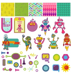 Funny robots theme - scrapbook design elements vector