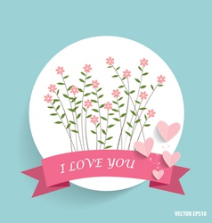 Cute note paper with ribbon heart and floral vector