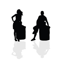 Girl and man silhouette part two vector