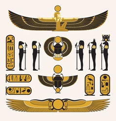 Ancient egyptian symbols and decorations vector