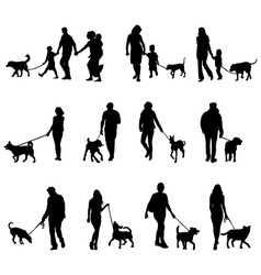 People with dogs vector