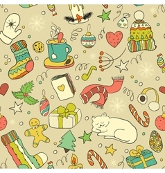 Winter doodle collection seamless background vector