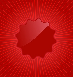 Empty red label on background with radiating rays vector