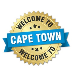 Cape town 3d gold badge with blue ribbon vector