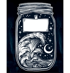 Wish jar with night sky moon and water waves vector