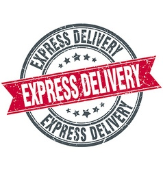 Express delivery red round grunge vintage ribbon vector