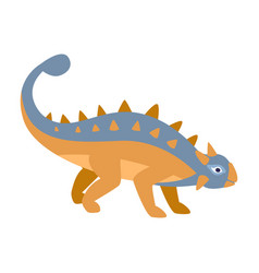 ankylosaurus blue and orange dinosaur of jurassic vector image