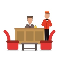 Bellboy receptionist chairs hotel icon vector