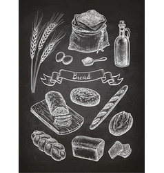 chalk sketch of breads vector image vector image
