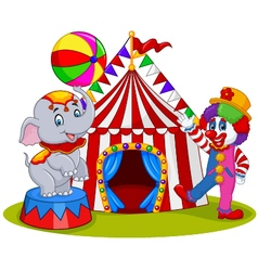 Circus elephant and clown with carnival background vector
