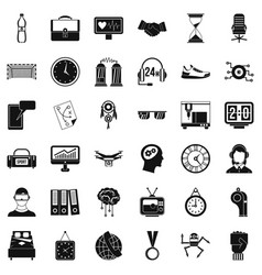 Clock icons set simple style vector