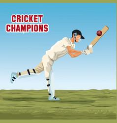 cricket player cartoon vector image