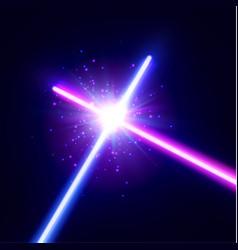 Crossing laser saber war two neon swords vector