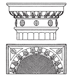 Doric capital supports vintage engraving vector