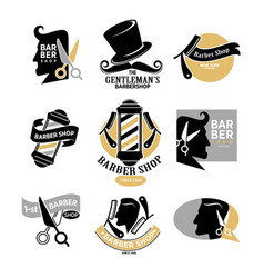 Exclusive gentlemans barbershop stylish isolated vector