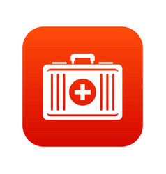 First aid icon digital red vector
