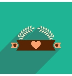 Flat icon with long shadow ribbon heart leaves vector