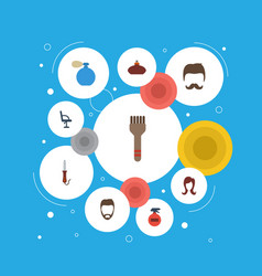 Flat icons hairstyle deodorant bristle and other vector
