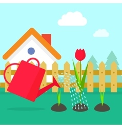 Garden cartoon village with vector image